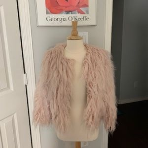Jackets & Blazers - Pinky Peach Color Fluffy Faux Fur Jacket Size L